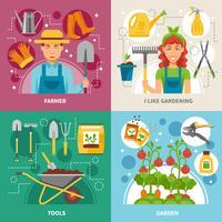 Gartenarbeitikonen des Konzeptes 4 quadratische Fahne