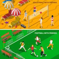 Vänner Sport 2 Isometrisk Bannersammansättning