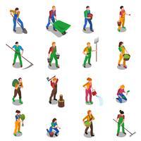 Jordbrukare på arbetsplatsen Isometriska ikoner vektor