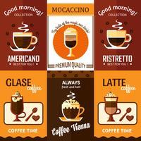 Sätta av sex kaffe affischer