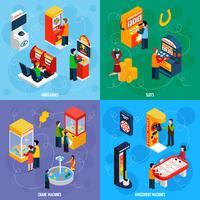 Spielmaschinen 4 isometrische Icons Square