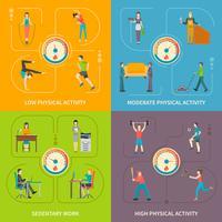 Flaches Konzept der körperlichen Tätigkeit