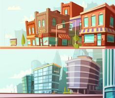 Skyline der Stadt 2 horizontale Banner gesetzt vektor