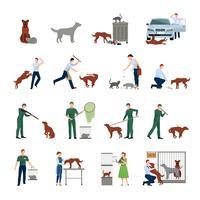 Stray Animals Icon Set vektor