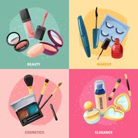 Kosmetik Makeup Concept 4 Ikoner Square vektor
