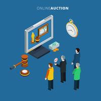 Online-Auktion isometrisch vektor