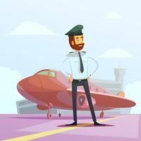 Pilot-Karikatur-Illustration vektor