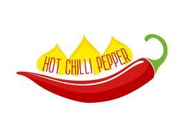 Hot Chili Pepper Pod Einzelner Gegenstand vektor
