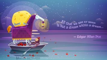 Häst med Lantern Surrealistisk bakgrundsaffisch