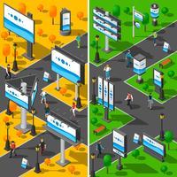 Street Advertising Isometric Banners Set