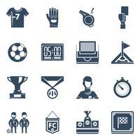 fotboll platt svart ikonuppsättning
