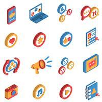 Socialt nätverk Isometrisk ikonuppsättning