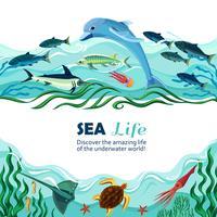 havs undervattens liv tecknad illustration