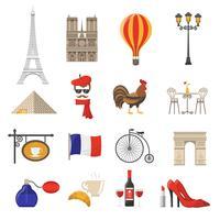 Frankreich Icons Set vektor