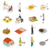 Restaurant-Café-Bar-isometrische Ikonen eingestellt