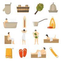 Bad Sauna Spa Platt Icons Set