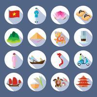 Vietnamesische Symbols-flache runde Ikonen eingestellt
