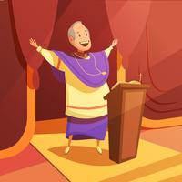 Påven Cartoon Illustration vektor