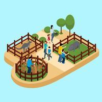 Människor På Zoo Illustrationen