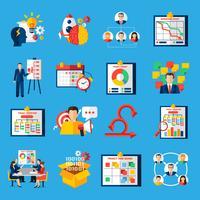 scrum agile utveckling platt ikoner uppsättning