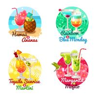 Tropische Cocktails Flat vektor