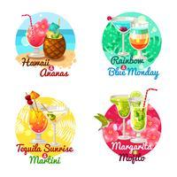 Tropiska Cocktails Flat vektor