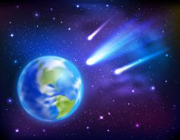 Kometen kommen auf die Erde Hintergrund
