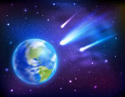Kometer som kommer till jorden Bakgrund vektor