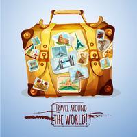 Touristischer Koffer Mit Briefmarken