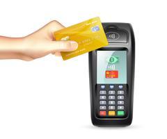 Betalningsterminal med kreditkort vektor
