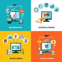 online utbildning designkoncept uppsättning vektor