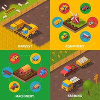 Jordbruksmaskiner 4 Isometrisk ikoner Square