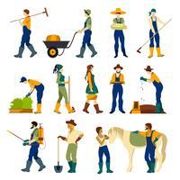 Jordbrukare på jobbet Plattformade ikoner vektor