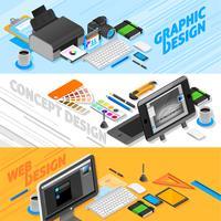 Grafisk design Isometrisk Banners Set