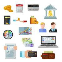 Kredit-Bewertungs-Ikonen auf weißem Hintergrund