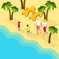 Pensionerad Folk Family Vacation Isometric Banner