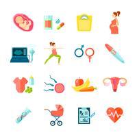 Schwangerschaft Icons Set