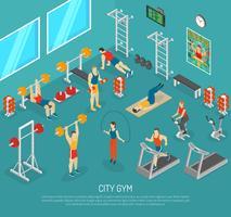 isometrisches Poster des Fitnesscenters der Stadt