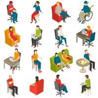 Isometrische Ikonensatz der sitzenden Leute