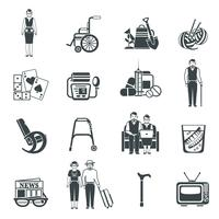 Pensioners Life Black White Icons Set vektor