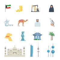 Kuwait-Kultur flach Icon Set vektor