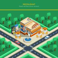 isometrisk stadslandskap med restaurangbyggnad
