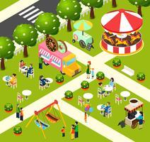 Straßen-Nahrungsmittel-LKW-isometrisches Kompositions-Plakat