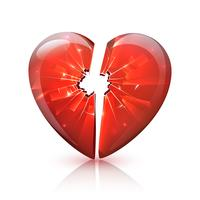 Red Glossy Broken Glass Heart Icon
