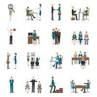 Rekrytering HR-folk Ikoner Set