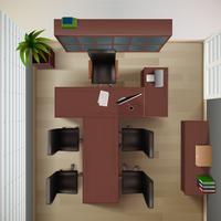 Büro-Draufsicht-Illustration