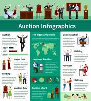 Auktionsförsäljning Worldwide Flat Infographic Banner