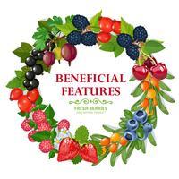 Frischer natürlicher Beeren-Kranz-dekorativer Rahmen