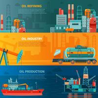 Oljebranschen Horisontell Banners Set vektor