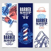 Barber Shop 3 Vertikala Banderoller Set vektor